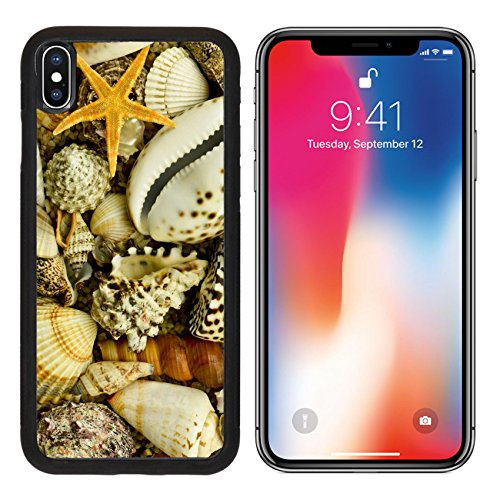 MSD Premium Apple iPhone X Aluminum Backplate Bumper Snap Case Seashells with starfish on gravel IMAGE 22644665