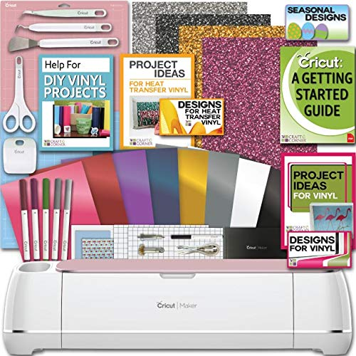 Cricut Maker Machine Bundle 1 Beginner Cricut Guide Smooth Heat Transfer Permanent Vinyl Tools Designs, Colors may Vary ()