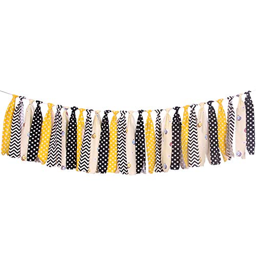 Bunting Bee Bumble - ONINIT Bee Safety Fabric Banner Buntings Garlands for Kids Birthday,Baby Shower Decoration,Best Kids Birthday Party Supplies for Photo Booth Props,Birthday Souvenir and Gifts