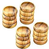 Acaciaware Acacia Wood Round Salad Bowls, Dipping and Nut Bowls, 6-inch Diam by 3-inch, Set of 12