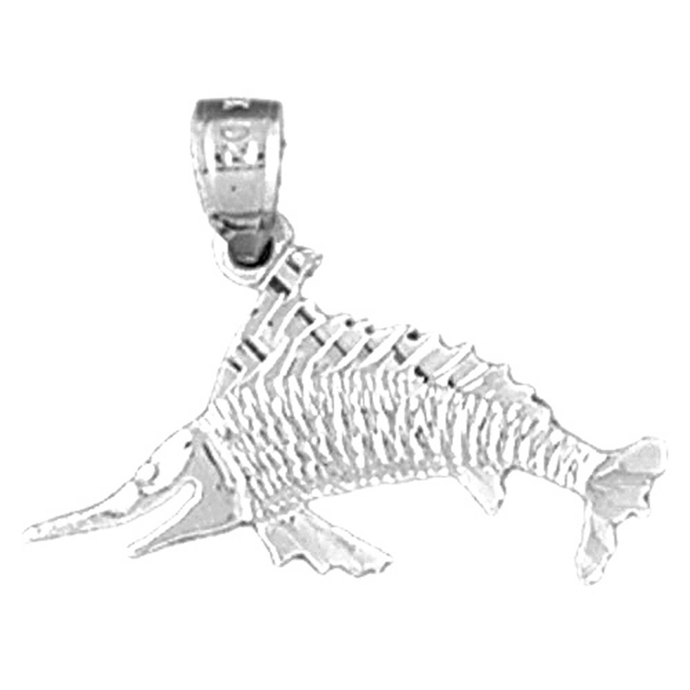 Jewels Obsession Marlin Necklace Rhodium-plated 925 Silver Marlin Pendant with 18 Necklace