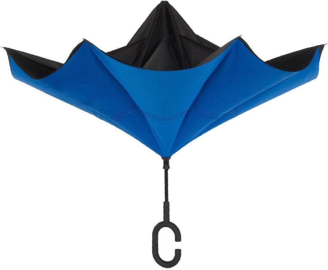 ShedRain UnbelievaBrella Reverse Umbrella: Black and Ocean Blue
