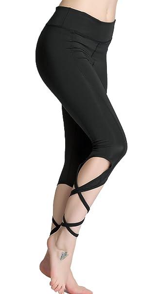 5658eaab13 Amazon.com: BINAND Women Yoga Pants with Pocket Cutout Tie Cuff Slim Yoga  Leggings Jogger Workout Tights Quick Dry Sports Capri: Clothing