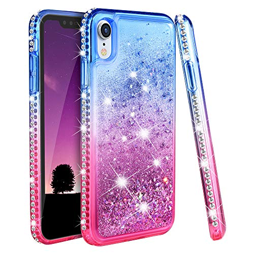 Ruky Case for iPhone XR Glitter Case, Colorful Quicksand Series Bling Diamond Rhinestone Sparkly Flowing Liquid Floating Soft TPU Protective Girls Women Cute Case for iPhone XR 6.1 inches (Blue Pink)
