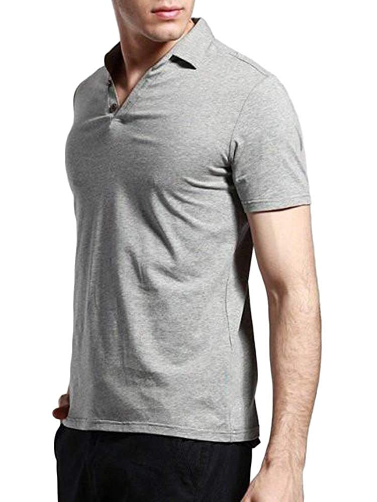 Enjoybuy Mens Short Sleeve Polo Shirts Casual Cotton Solid Plain Classic Fit T-Shirt Tops Decorative Buttons