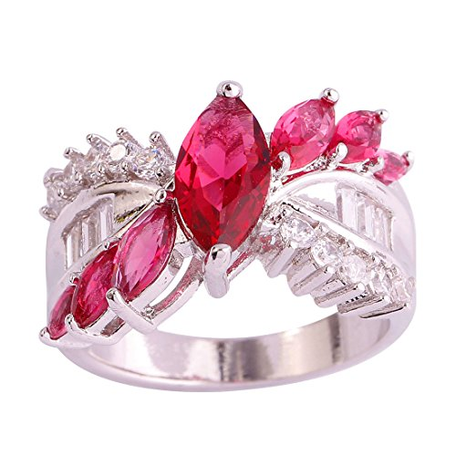 (Psiroy 925 Sterling Silver Created Ruby Spinel Filled Marquise Cut Engagement Ring Band Size 9)