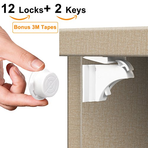 Baby Proofing Magnetic Cabinet Locks | Child Safety Drawer Locks (12 Locks + 2 Keys) | No Tools or Drilling Required for Multi-Purpose