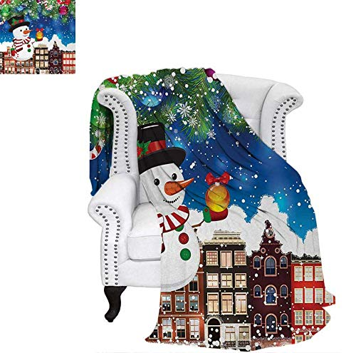 (Print Artwork Image Snowman in The City Streets Urban Style Noel Downtown Wishes Ritual Funny Illustration Warm Microfiber All Season Blanket 70