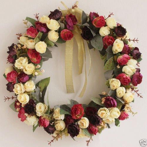 WALLER PAA 14in Handmade Artificial Rose Door Wreath Silk Floral Home Decor 1pc