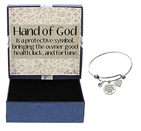 Mother's Day Gift Hand of God Adjustable Bangle Bracelet Stainless Steel Good Luck Charm Protection Bracelet Gift Mothers Day Gift Idea New Mom Gift Protection Charm For (The Tree Of Life Bluray)
