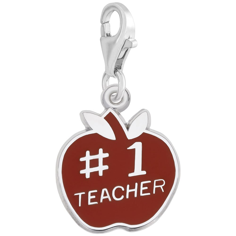 Charms for Bracelets and Necklaces Teacher Charm With Lobster Claw Clasp