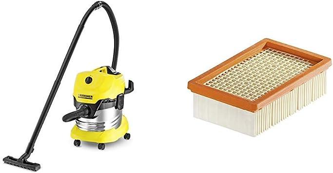 Kärcher WD4 Premium - Aspirador en seco y húmedo, 1000 W, 20 l + Kärcher Filtro plegado plano WD4-WD5-WD6: Amazon.es: Bricolaje y herramientas