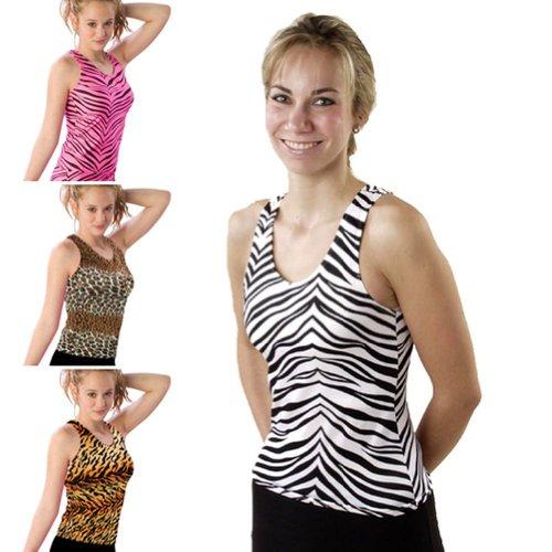 Pizzazz Girl Hot Pink Zebra Print Racerback Dance Cheer Tank Top 10-12 (Tank Print Top Zebra)