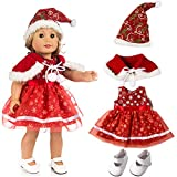 Doll Accessories,Cute Christmas Clothes Dress Hat Shoes for 18 inch Our Generation American Girl Doll