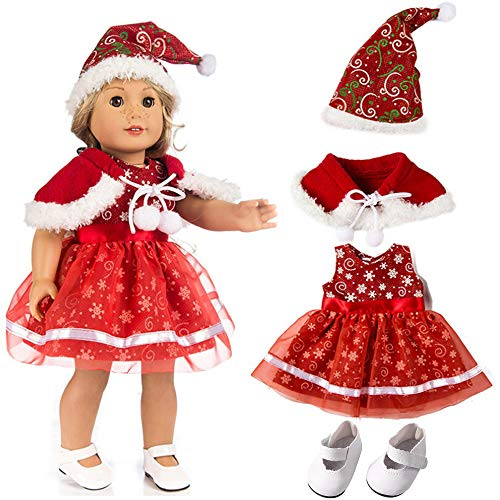 YRD TECH 18 Inch Doll Clothing/Clothes 4 Pc,Christmas Hat + Print Dress + Shawl + Shoes Outfits Fit American Girl Doll Accessories