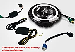 Jeep Wrangler Headlights,YITAMOTOR 2pcs 7 Inch Round Led Headlight Jeep Headlights With Halos With DRL Hi/lo Beam for Jeep Wrangler Jk Tj Harley Davidson with H4 Plug