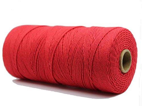 Ialwiyo Handmade Decorations Natural Cotton Macrame DIY Wall Hanging Plant Hanger Craft String Making Knitting Cord Rope Natural Color - 1.5mm (Red)