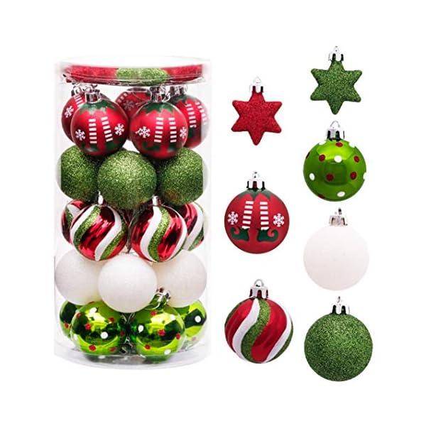 Sunshine smile Decorazioni Albero di Natale,Palle di Natale in plastica,Palline di Natale,Palline di Natale,Palline di Natale Decorazioni,Plastic Palline (Rosso Bianco Verde) 1 spesavip