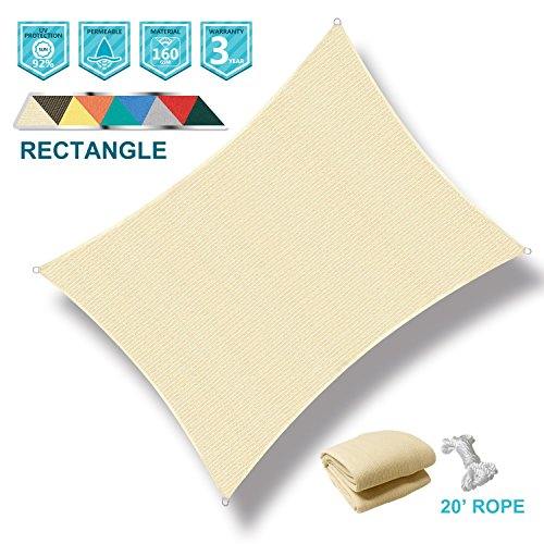 SoLGear 8′ x 12′ Rectangle Beige UV Block Sun Shade Sail Perfect for Patio Outdoor G ...