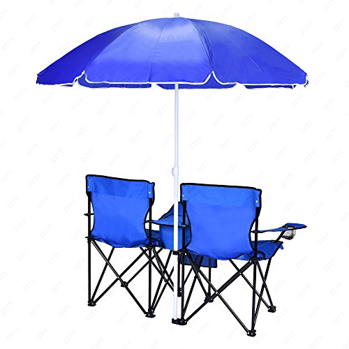 2 Folding Chair Camp Chair With Removable Umbrella Table