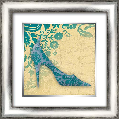 Shoe Damask 1 20x20 Silver Contemporary Wood Framed and Double Matted Art Print by Stimson, Diane