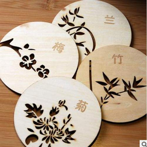Free-Ship Chinese Style Wooden Cup Coaster Mat Round Drinks Holder Pads Orchid Plum Bamboo Chrysanthemum Tableware Placemat (Ship Orchids Free)