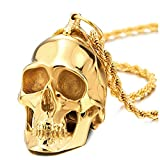 Large Stainless Steel Gold Skull Pendant Necklace Review and Comparison