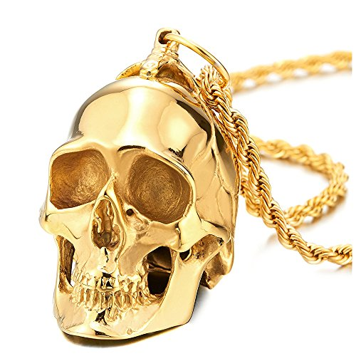 COOLSTEELANDBEYOND Large Stainless Steel Gold Skull Pendant Necklace for Men High Polished with 30 Inches Wheat Chain