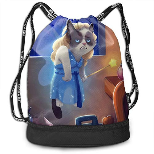 Grumpy Cat Fairy Tale Angel Pumping Rope Bags Large Size Drawstring Bulk Backpacks Zipper Bundle Mouth Pull String Bags Unisex Bucket Bag -