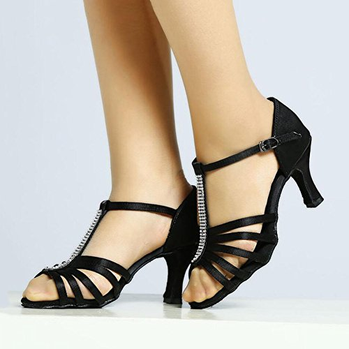Zapatos para Práctica salón Hebilla Party Black Sandalia seda baile Evening amp; mujer Heel de para latinos deportiva de Cinturón Zapatos Segundo Zapatilla Tie twqOxF5A44
