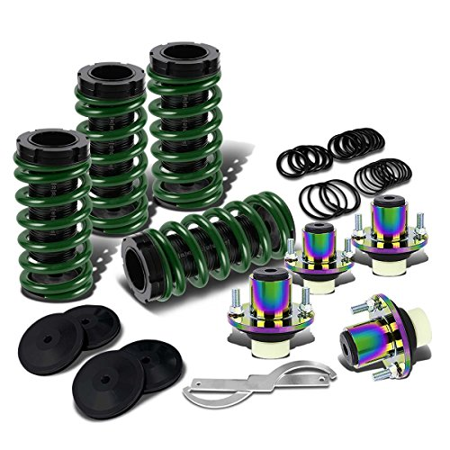 For Civic/Del Sol/Integra Black Scaled Sleeve Green Coilover+Neo Chrome Top Hat Mounting Kit