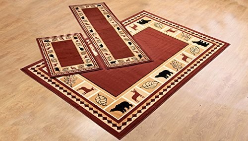 Furnishmyplace 3 Piece Wildlife Bear Moose Rustic Lodge Cabin Lodge Carpet Area Rug (Red Bear Moose Rug Set) ()