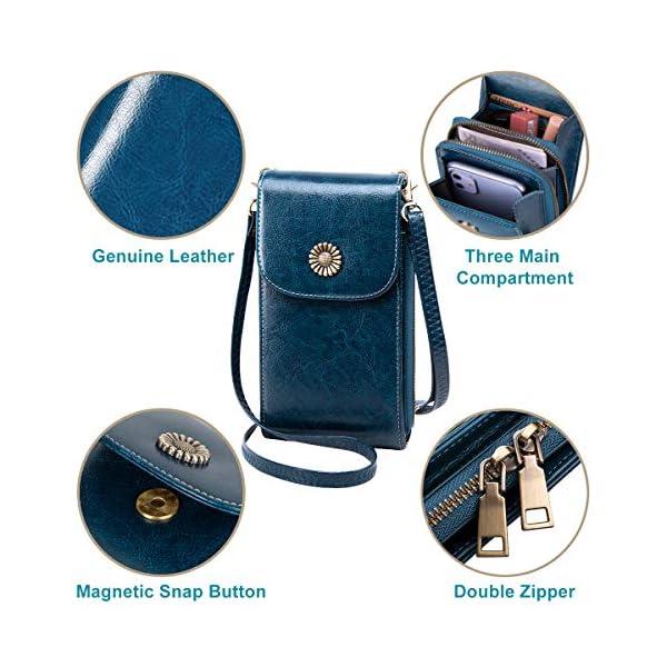 TEUEN Sac Téléphone Portable Femme en Cuir Petit Sac à Bandoulière pour Téléphone avec Porte Carte et Fermeture Eclair…