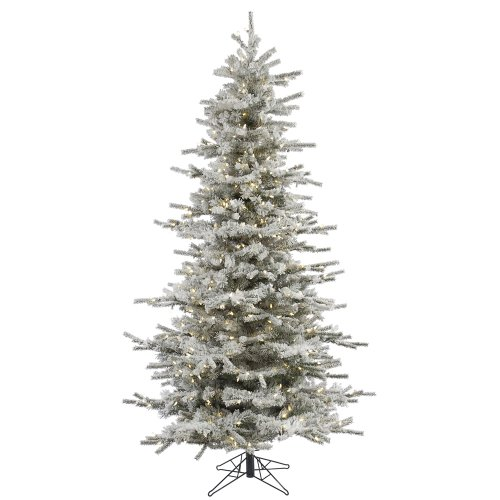 Vickerman 65' Flocked Slim Sierra Artificial Christmas Tree with 550 Warm White LED Lights