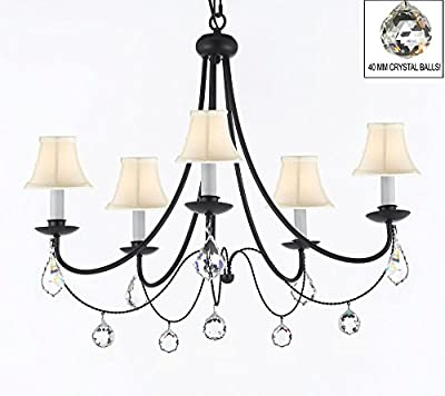 "Empress Crystal (tm) Wrought Iron Chandelier Chandeliers Lighting H.22.5"" x W.26"" With White Shades and Crystal Balls!"