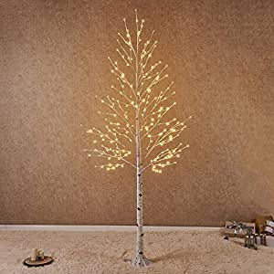 Hairui Lighted Artificial White Birch Tree Pre-lit Christmas Tree Lights (Partial Twinkling) Warm White Plug in for Christmas Indoor Outdoor Home Garden Party Wedding Decoration 103