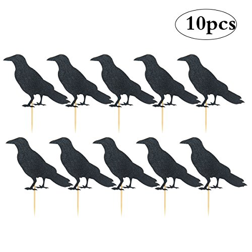 Black Crow Cake Toppers Halloween Crow Cake Picks Happy Halloween Party Supplies Glitter Crown Decors, 10-Pack