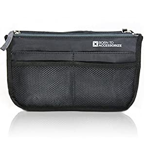 Premium Purse Organizer - Perfect Handbag Organizer Insert to Keep Your Personal Essentials Organized & Accessible - 13 Pockets - Sturdy - Durable - Stylish (M-Black)