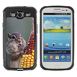 iDesign Rugged Armor Slim Protection Case Cover - Funny Hungry Squirrel - Samsung Galaxy S3