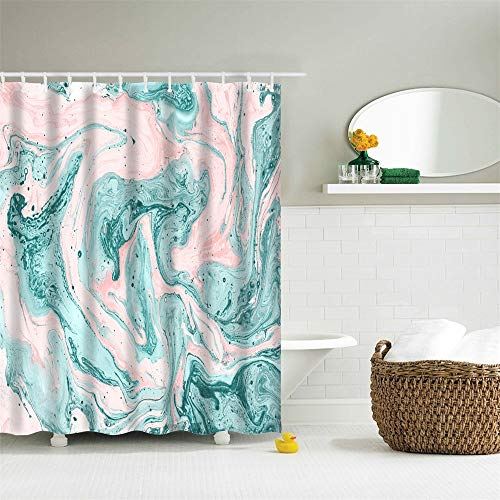 (Eleroye 72 x 72 inches Shower Curtain Marble Pattern Ink Texture Splash Green Teal Pink Oil Flowing Water Soap Resistant Machine Washable Fabric Bathroom Decor Set with Hook Bath Curtain)
