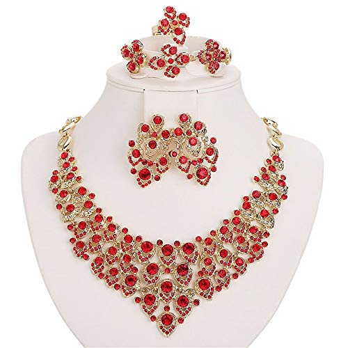 Moochi 18K Gold Plated Red Zircon Embedded Scarf Pattern Jewelry Set