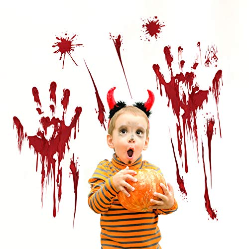 Lazzon 4 Pcs Sanglant Empreinte Autocollant de la main Horreur PVC Fen/être Clings pour Halloween Mural D/écorations Articles De F/ête