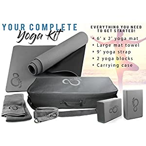 Live Infinitely Complete 6 Piece Yoga Set by 6mm Dual Layer Non Slip TPE Yoga Mat, 2 EVA Foam Blocks, 6' Cotton Strap, Mat Sized Exercise Towel & Carrying Case Perfect Kit for Any Yogi & Beginners