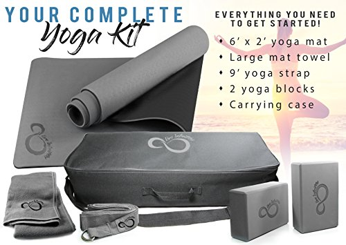 Live Infinitely Complete 6 Piece Yoga Set by 6mm Dual Layer Non-Slip TPE Yoga Mat, 2 EVA Foam Blocks, 6' Cotton Strap, Mat Sized Exercise Towel & Carrying Case- Perfect Kit for Any Yogi & Beginners