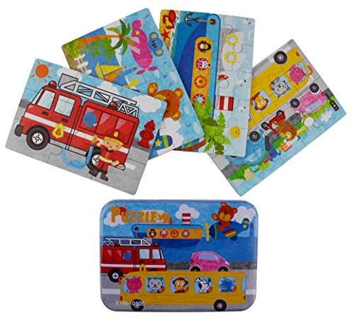 Vileafy Transportation Series Jigsaw Puzzle Sets, 4-Pack 4 Complexities, Best for 3-5 Years Old Babies to Develop Dexterity and Problem Solving, Free Iron Box for Easy Storage, 6 1/2 X 4 1/2.