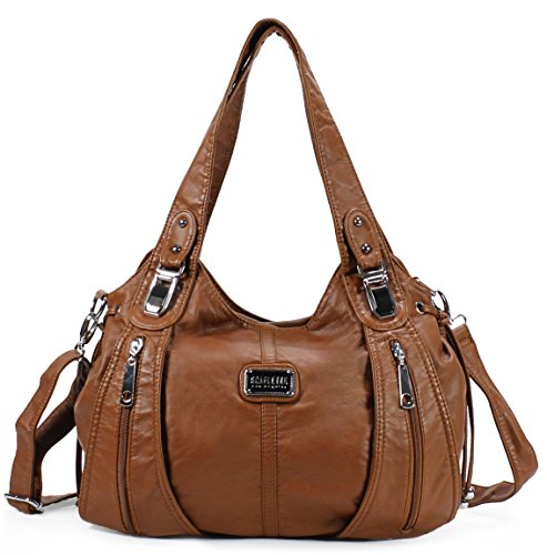 Scarleton Center Zip Shoulder Bag H147404A - Cognac