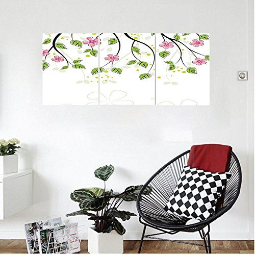 Fiberglass 30 Hoods - Liguo88 Custom canvas House Decor Branch With Flowers Leaves Cartoon Illustration Happy Childhood Summer Nature Artwork Bedroom Living Room Decor Pink Green