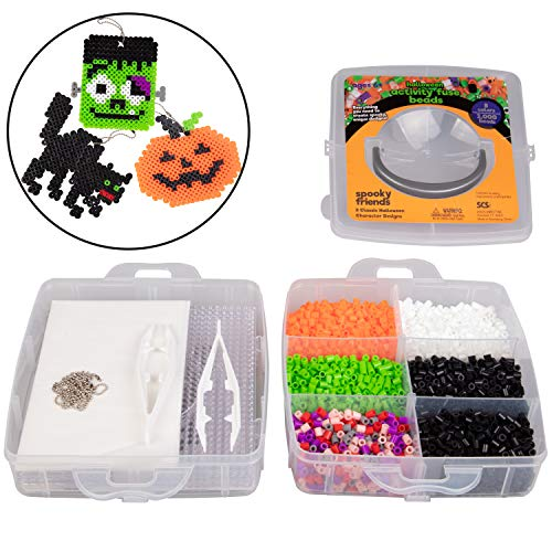 Cheap Halloween Crafts Adults (Halloween 3000 Pc Fuse Bead Kit w 8 Keychains - Create 8 Unique Holiday Decorations (Dracula, Frankenstein, Pumpkin and More)- Great Kids and Adults DIY Craft Toy Gifts - Compatible)