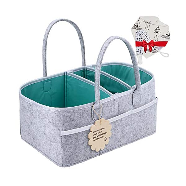 Baby Diaper Caddy Organizer – Shower Registry Gift Basket with Pacifier Clips, Bibs for Newborn – Caddy Nursery with Waterproof Liner Easy to Clean Perfect for Changing Table and Car – Grey Nappy Bag