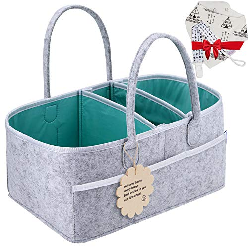Baby Diaper Caddy Organizer - Shower Registry Gift Basket with Pacifier Clips, Bibs for Newborn - Caddy Nursery with Waterproof Liner Easy to Clean Perfect for Changing Table and Car - Grey Nappy Bag (Furniture Outdoor Kardashian)